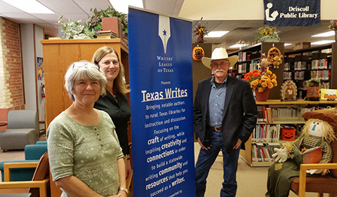 Rev and Meg Gardiner speaks to a book group in Devine, TX