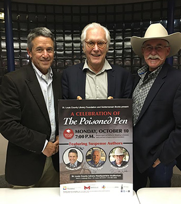 Michael Kahn, Jeff Siger, and Rev representing Poisoned Pen Press at a St. Louis Author Event